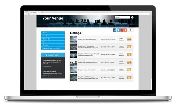 TicketShop embedded in website