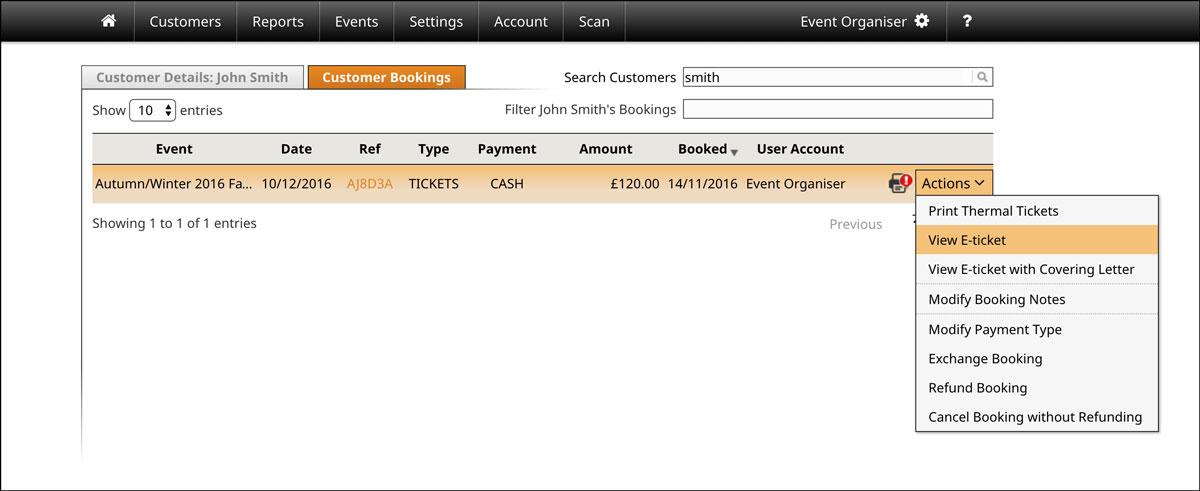 Screenshot of how to resend e-tickets