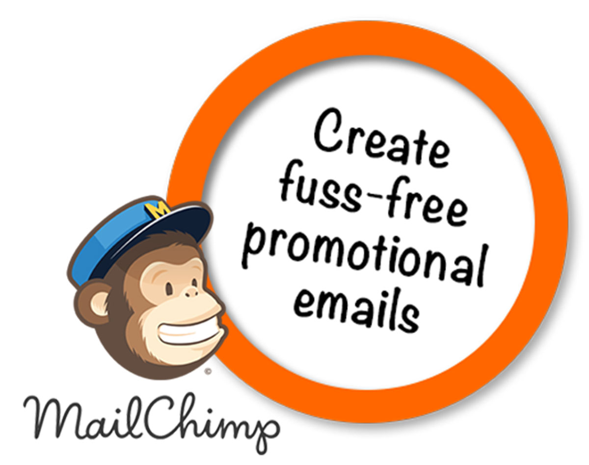 MailChimp logo and 'create fuss-free promotional emails' text