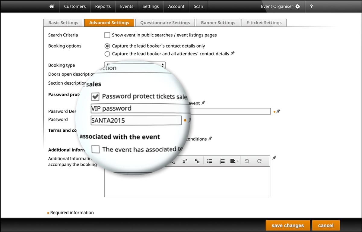 screenshot of setting up events