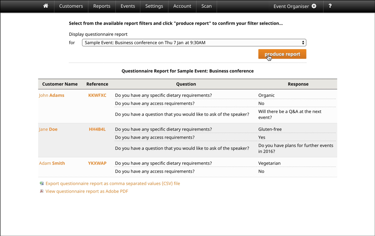 screenshot of the questionnaire feature