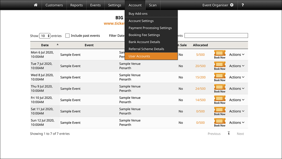 screenshot for setting user permissions