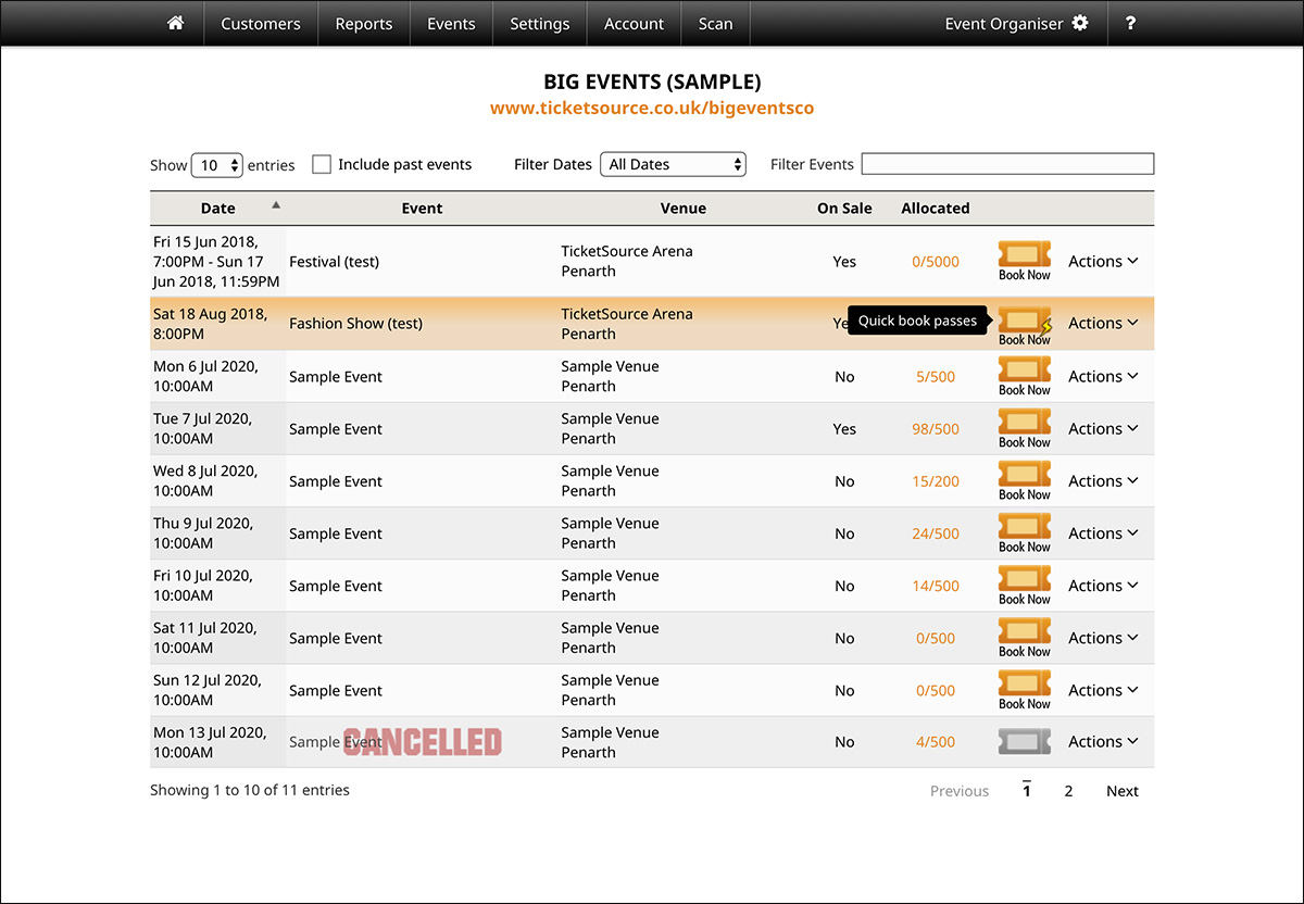 screenshot of the Quick Booking feature