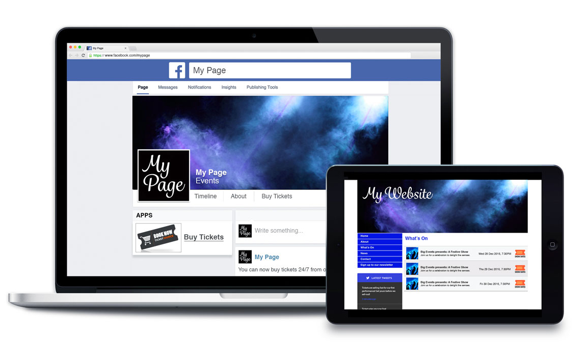 screens showing TicketShop for your website or your Facebook Page