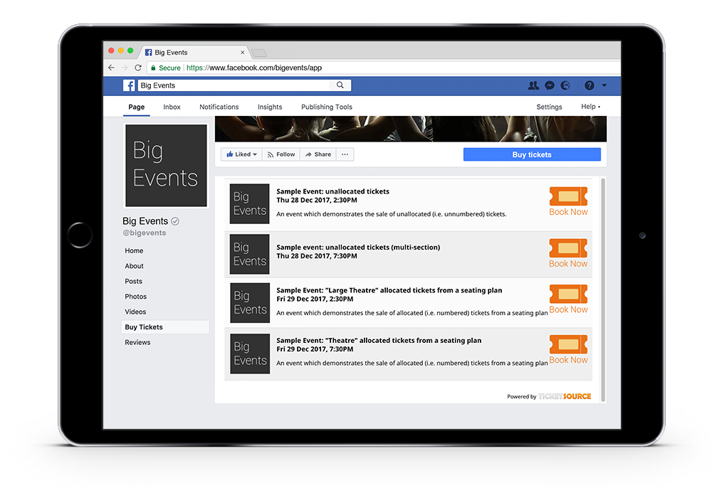 Facebook event integration