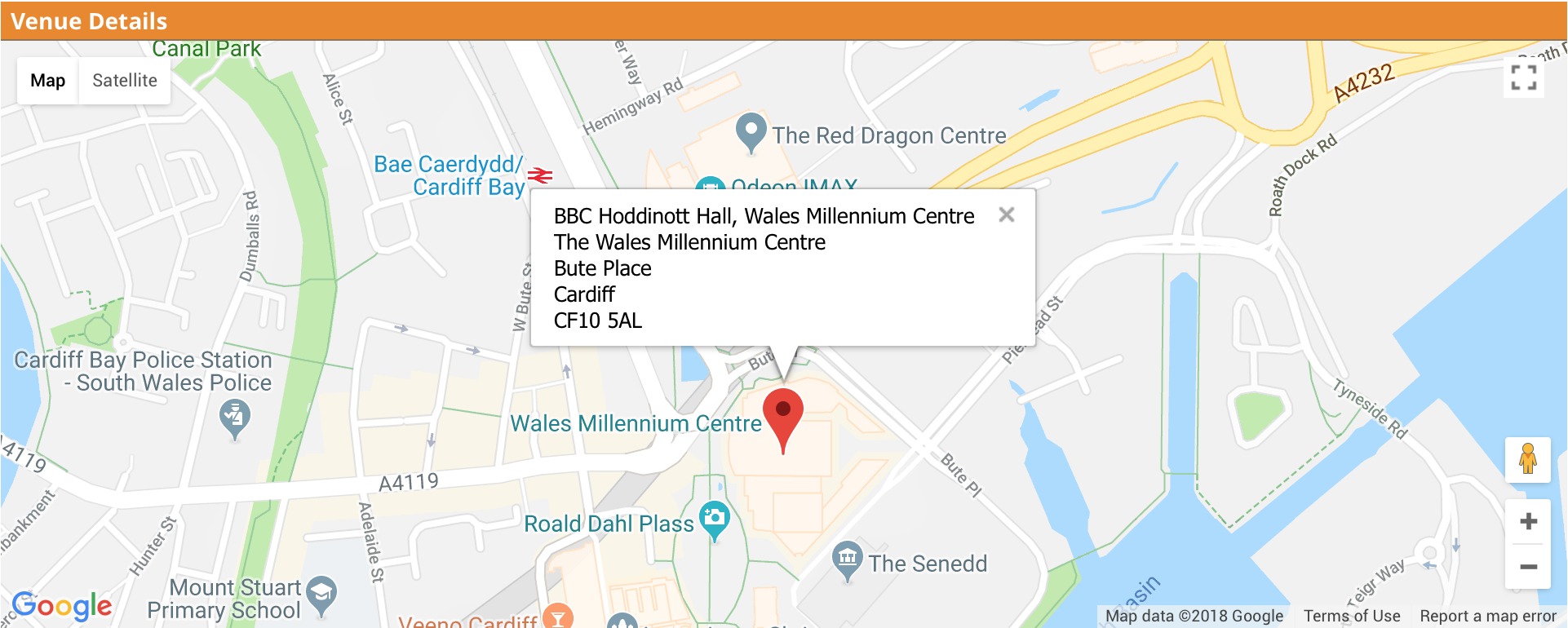 Google map listing for event