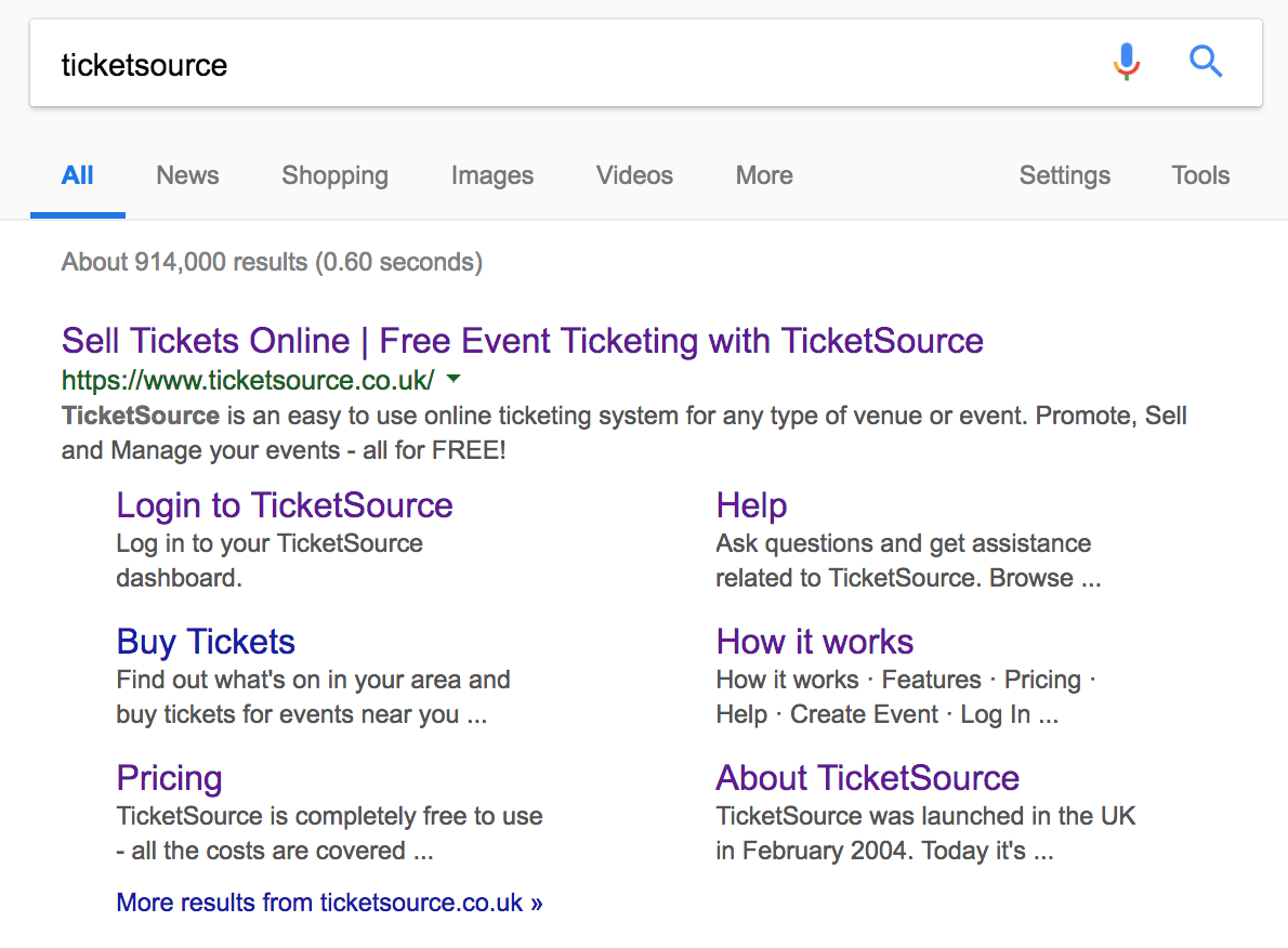 seo for events online example