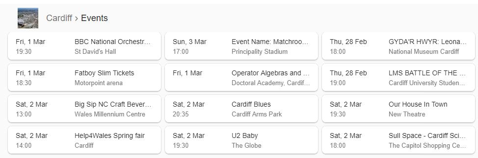 local cardiff events Google