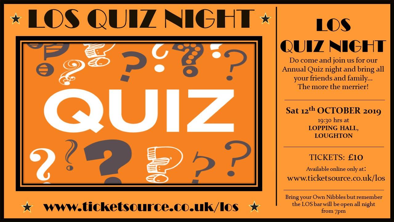 The LOS Annual Quiz Night  banner image