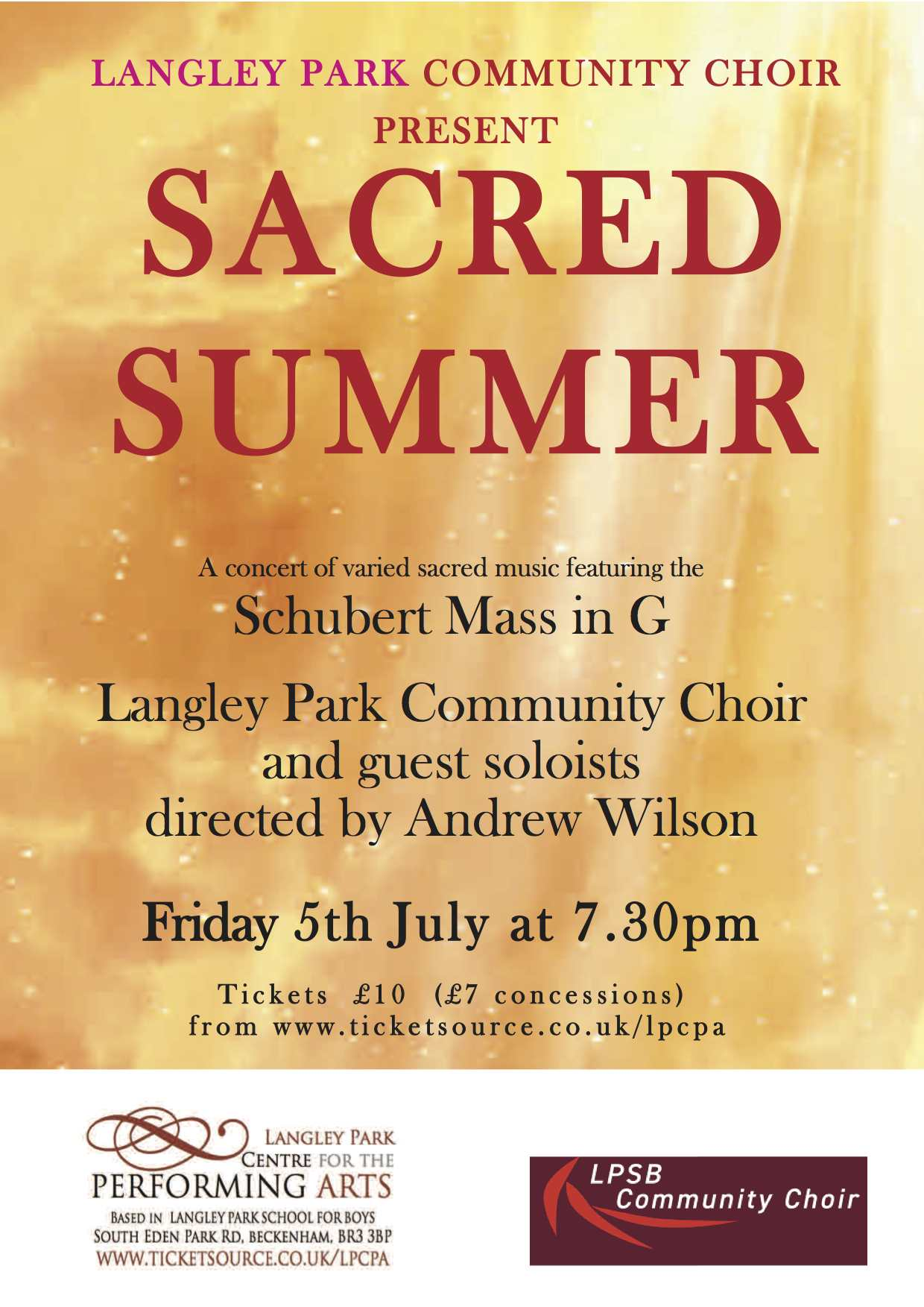 SACRED SUMMER with The Langley Park Community Choir banner image