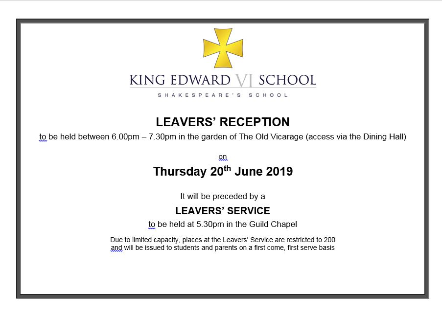 Leavers' Service 5.30pm and Reception 6.00pm banner image