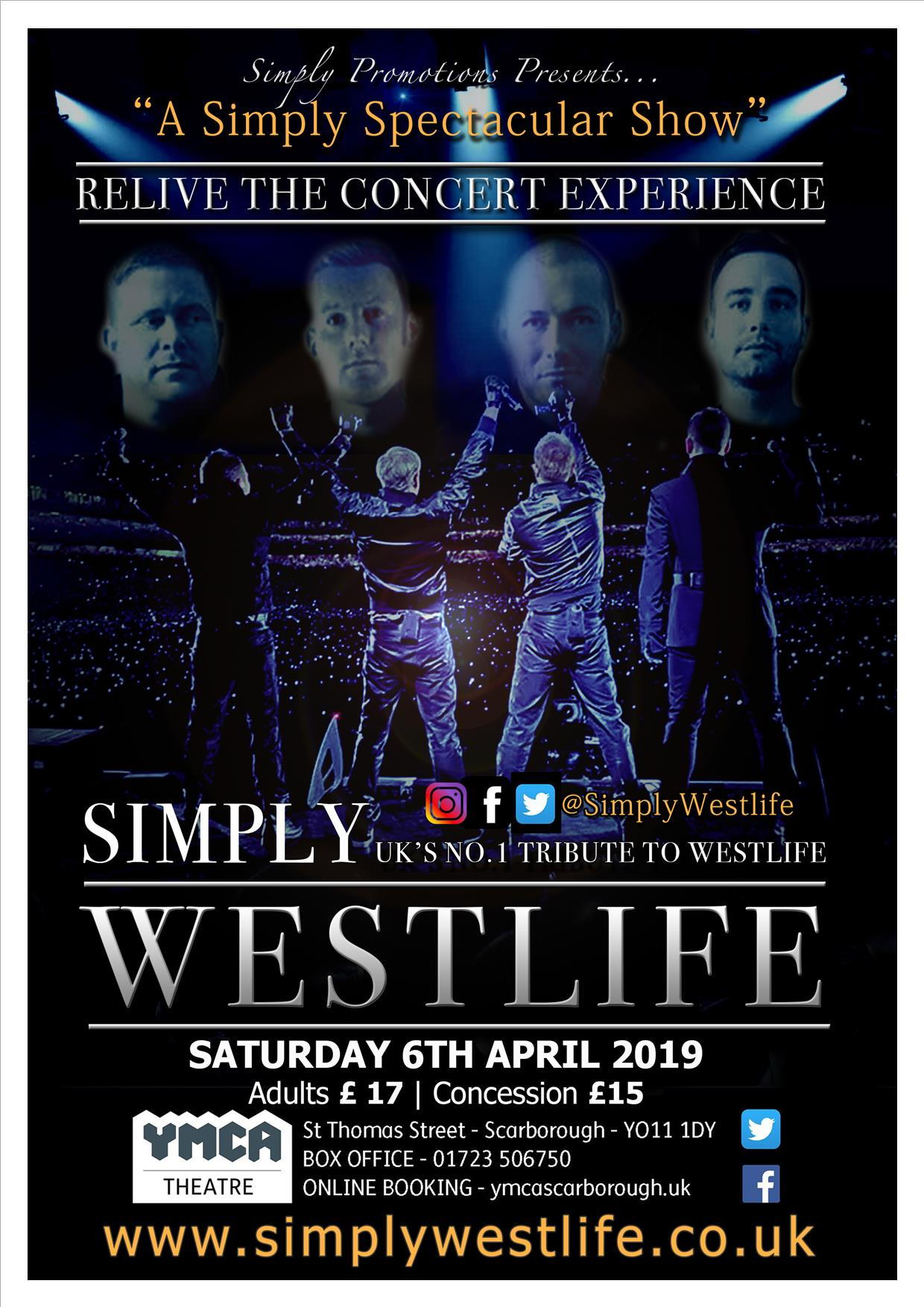 SIMPLY WESTLIFE at YMCA Theatre event tickets from TicketSource