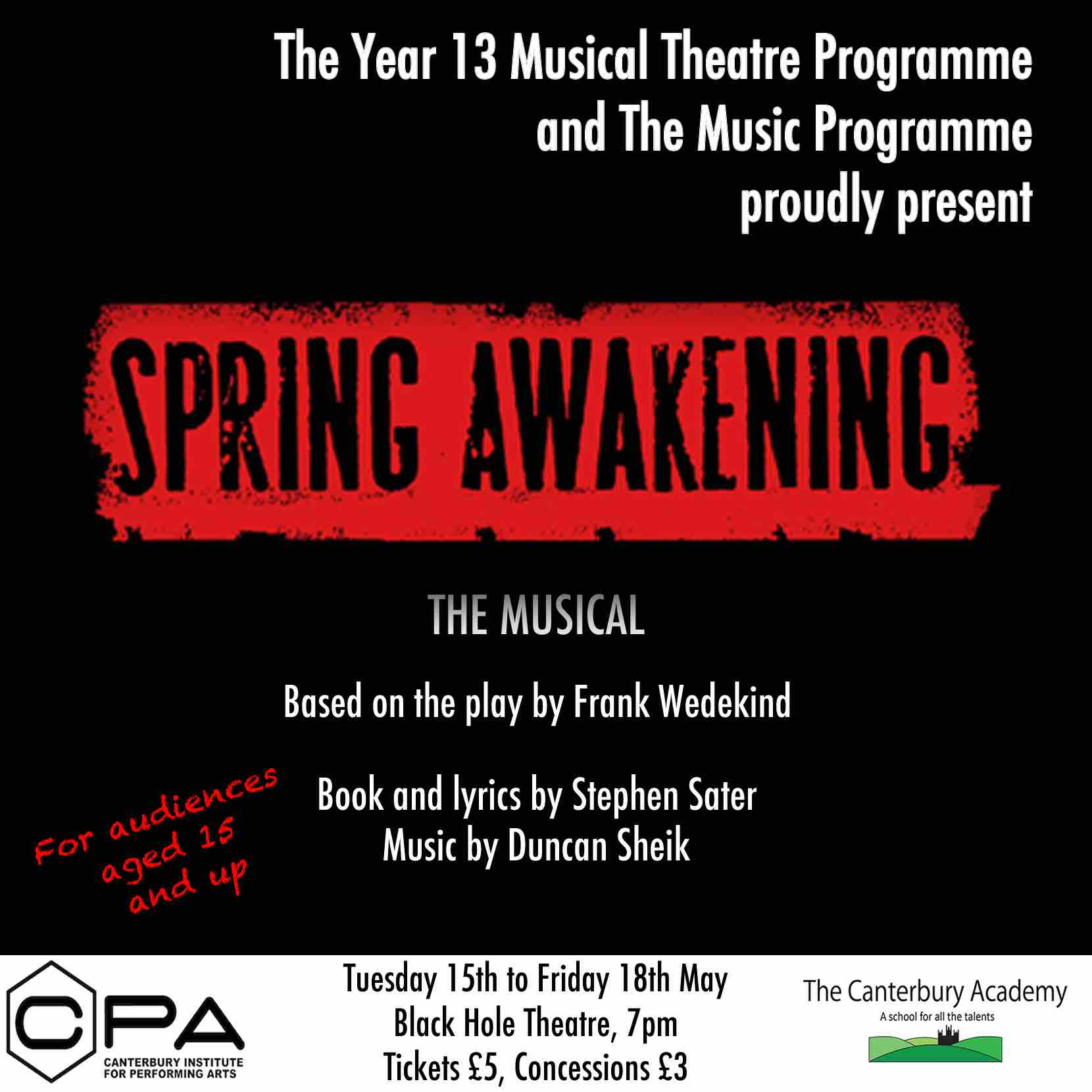 SPRING AWAKENING - The Musical at The Black Hole Theatre at