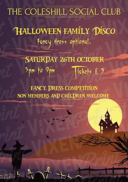 Halloween family disco and fancy dress banner image
