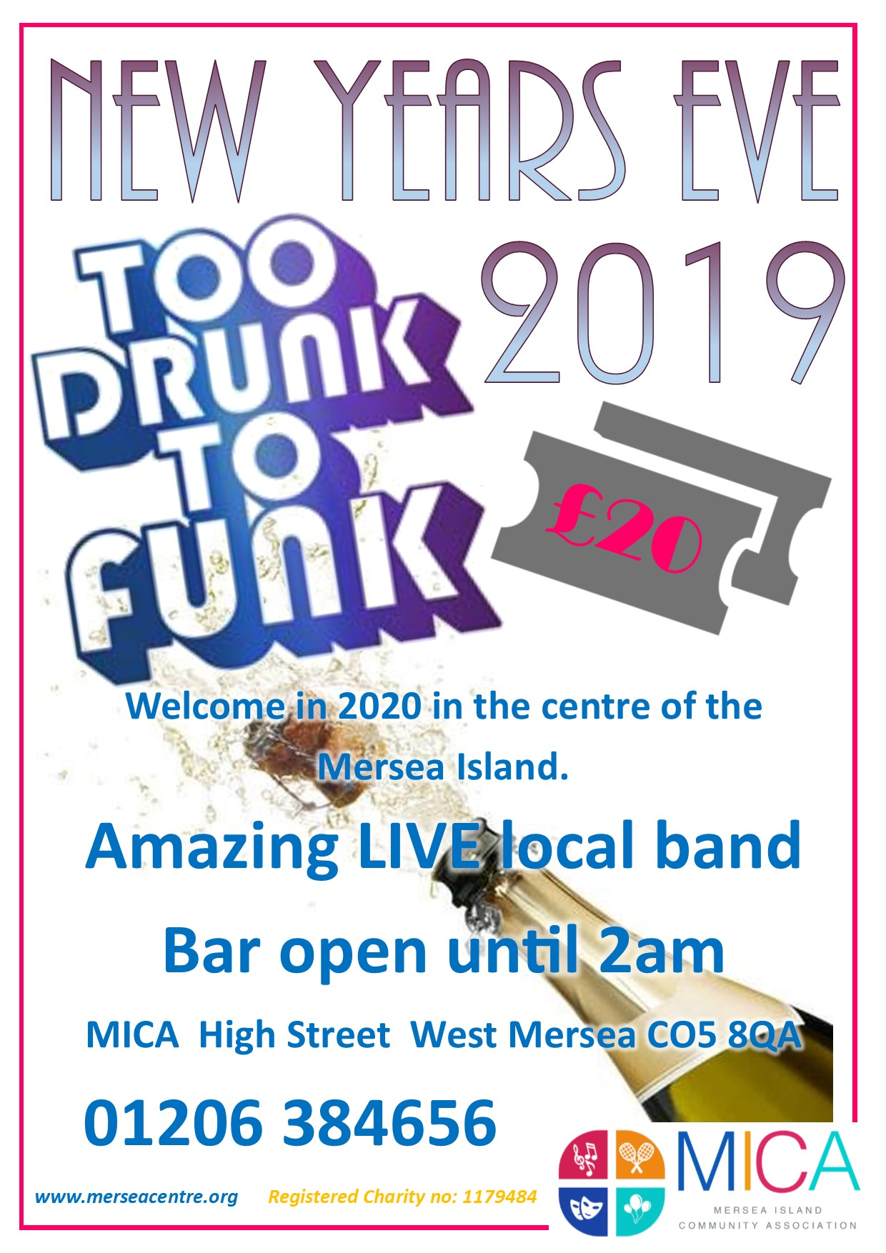 New Years Eve with Too Drunk To Funk banner image