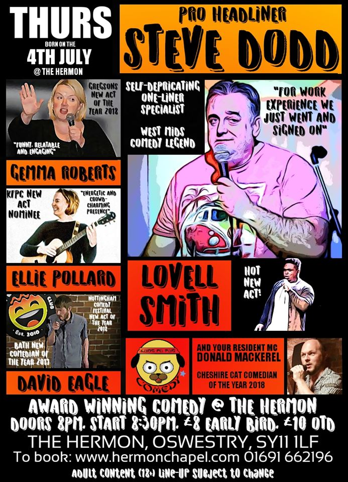 """Stand-up comedy live with Steve """"Big Bear"""" Dodd and guests banner image"""