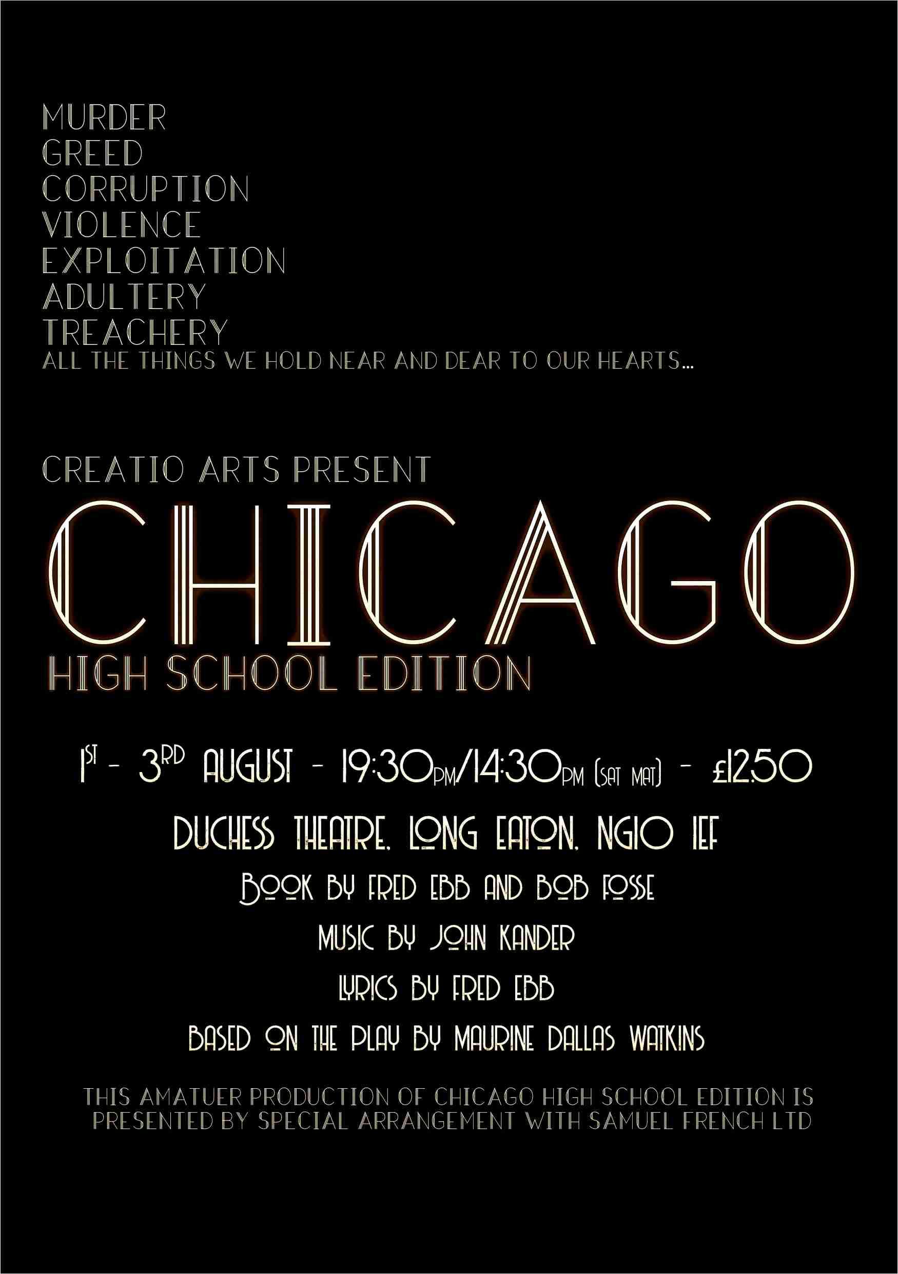 CHICAGO High School Edition - Creatio Arts banner image