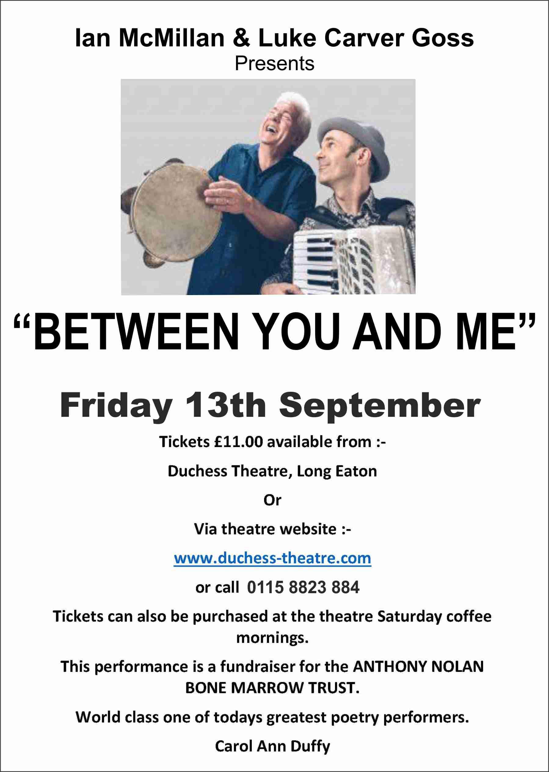 BETWEEN YOU & ME - Ian McMillan & Luke Carver Goss banner image