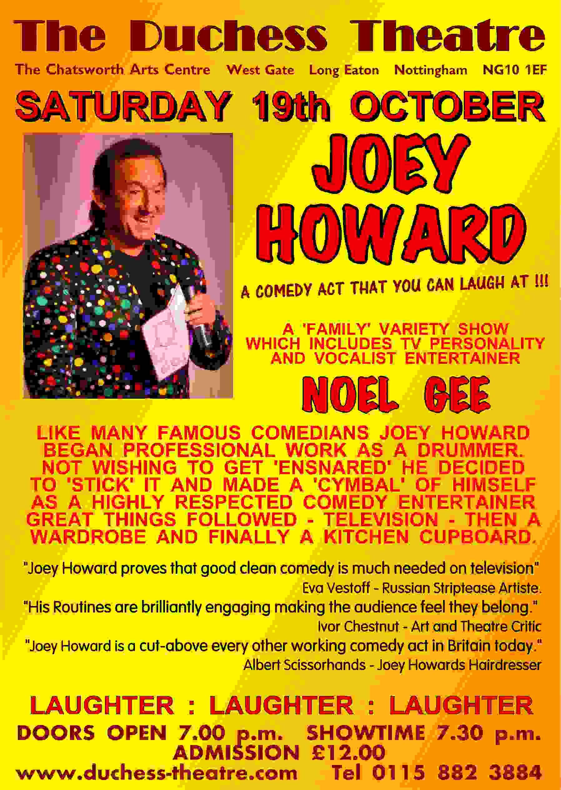 JOEY HOWARD Comedian - Noel Gee Presents banner image