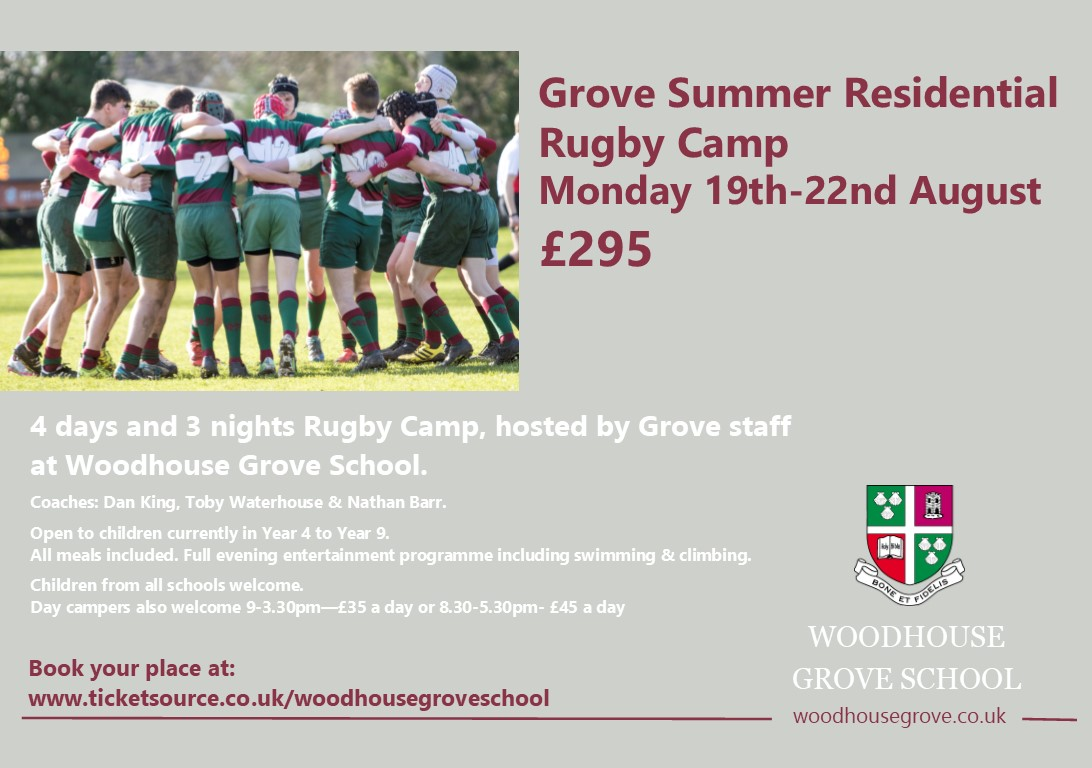 Grove Summer Residential Rugby Camp banner image