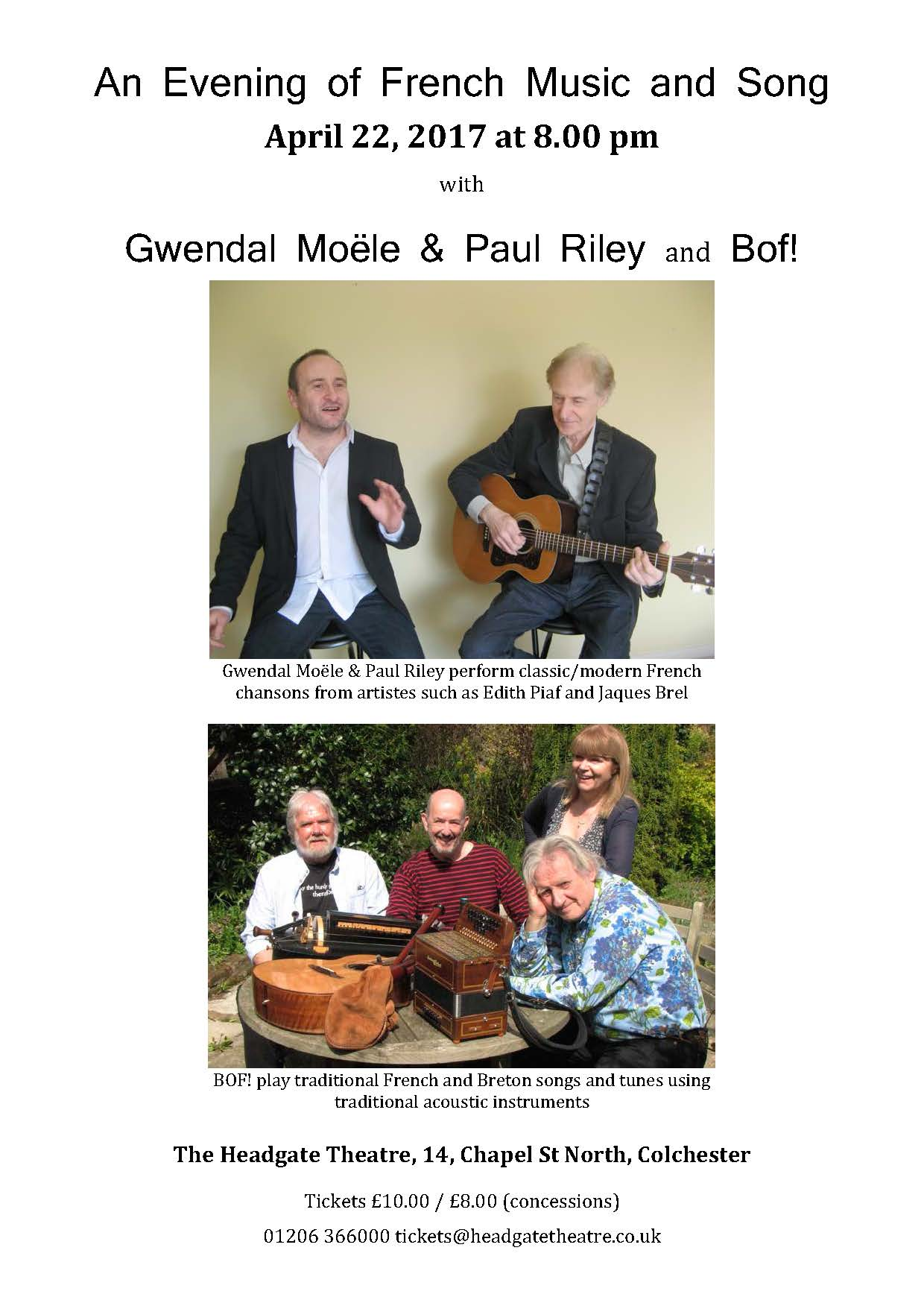 An Evening of French Music and Song at Headgate Theatre