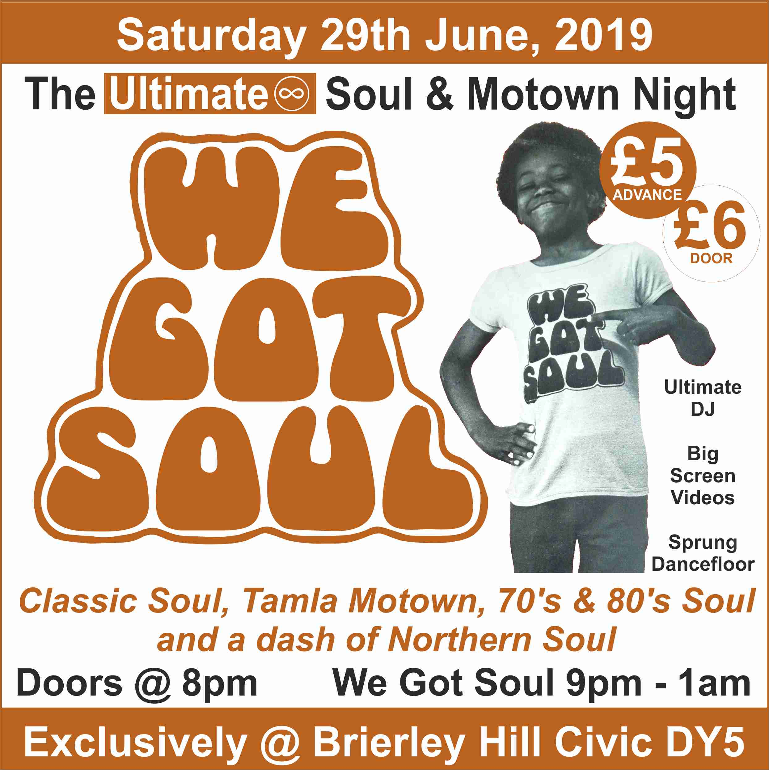We Got Soul - The Ultimate Soul & Motown Night at Brierley Hill Civic Saturday 29th June 2019 banner image