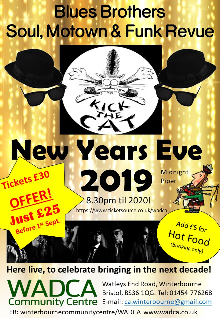 WADCA New Years Eve with 'Kick the Cat' & Piper 'EARLY BIRD OFFER' banner image