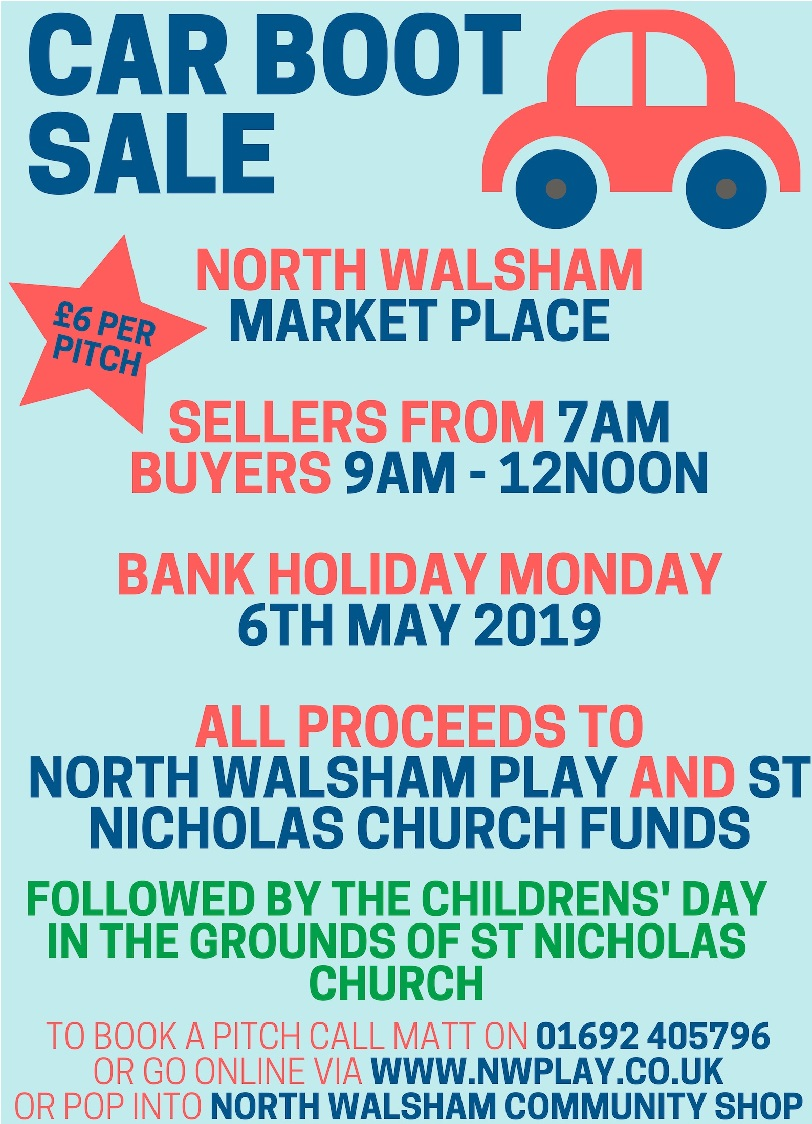 Carboot Sale Monday 6th May 2019 At North Walsham Market Place