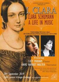 Linton Music Series presents Clara Schumann - a life in music. Lucy Parham, Dame Harriet Walter banner image