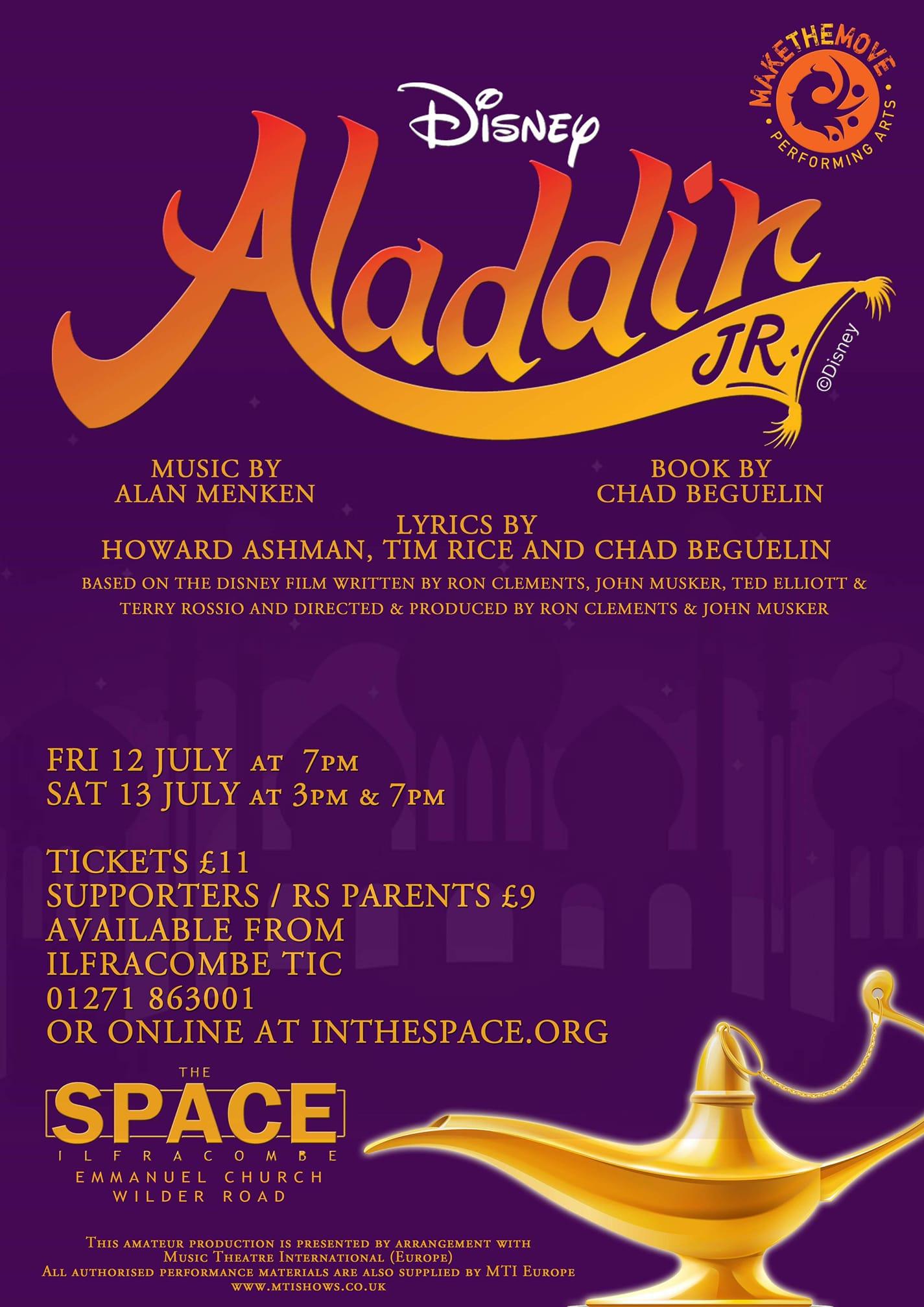 MTM - Disney's Aladdin jnr banner image