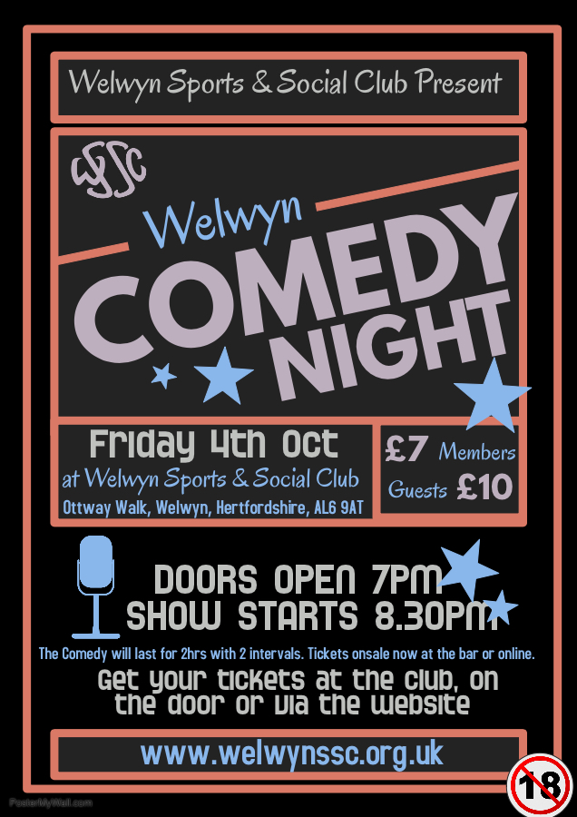 Welwyn Comedy Night - Friday 4th October banner image