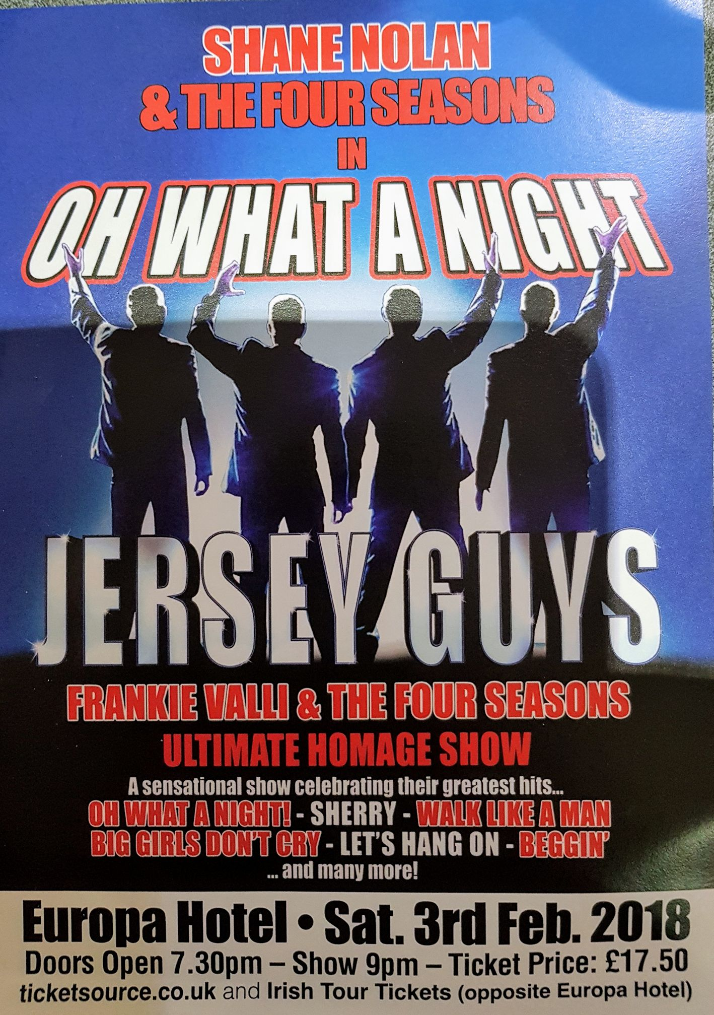 Jersey Guys Oh What A Night at Europa Hotel event tickets