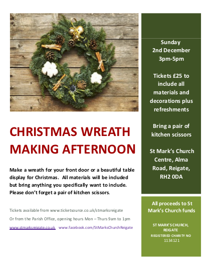 Christmas Wreath Making Workshop At St Mark S Church Centre Event