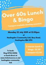 Over 60s Lunch & Bingo WITH transport banner image