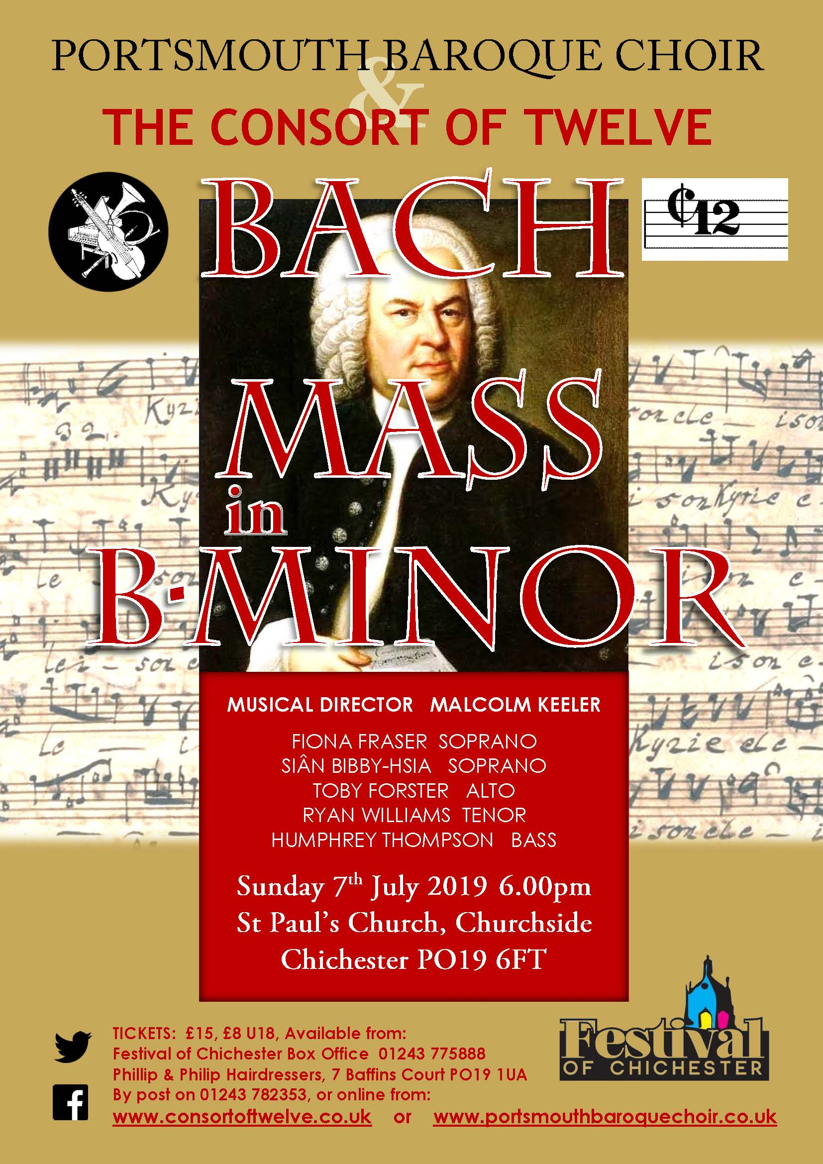 Portsmouth Baroque Choir & The Consort of Twelve - Bach Mass in B-Minor directed by Malcolm Keeler banner image