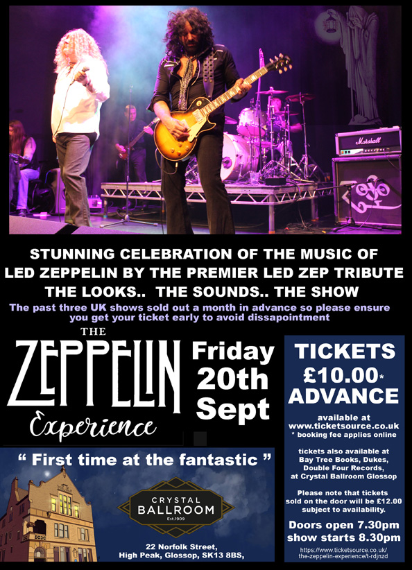 The Zeppelin Experience At Crystal Ballroom Glossop At The
