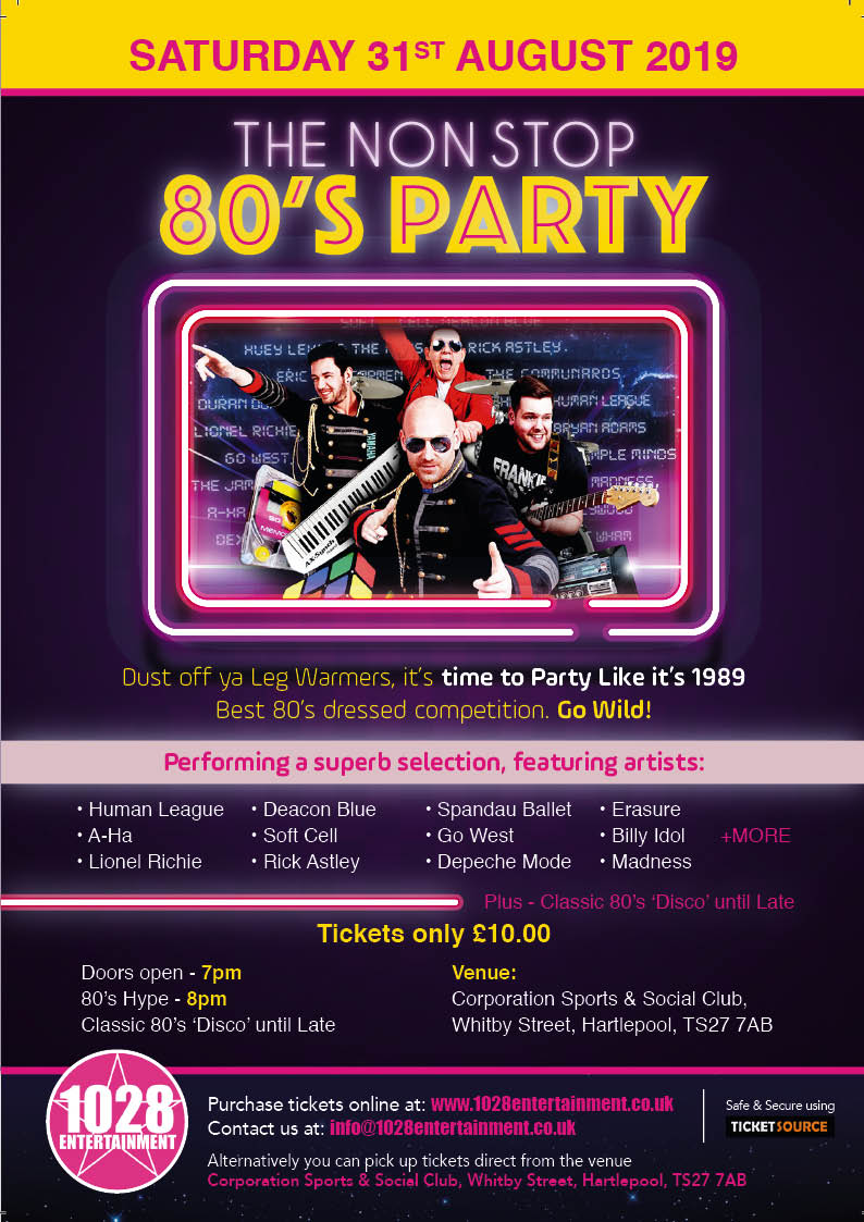 80's Hype - Non Stop 80's Party at Corporation Sports