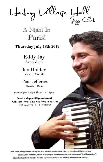 Harbury Jazz Club - July 2019 - A Night In Paris! - Ft Eddy Jay banner image