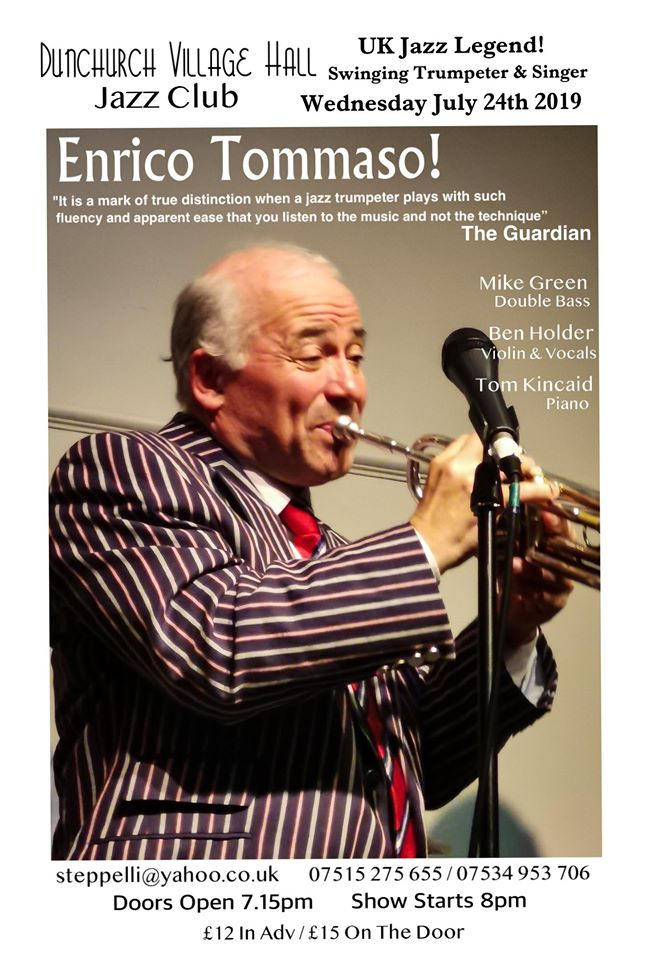 Dunchurch Jazz - July 2019 - ENRICO TOMASSO (trumpet) + Ben Holder/Tom Kincaid/Mike Green banner image